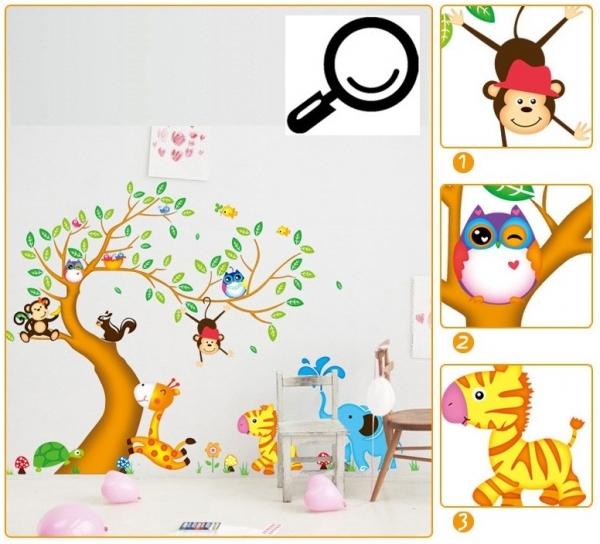 Sticker perete copii - Copac cu elefant stropitor 3