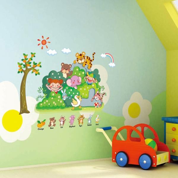 Sticker perete copii - Tufisul verde cu animalute 1