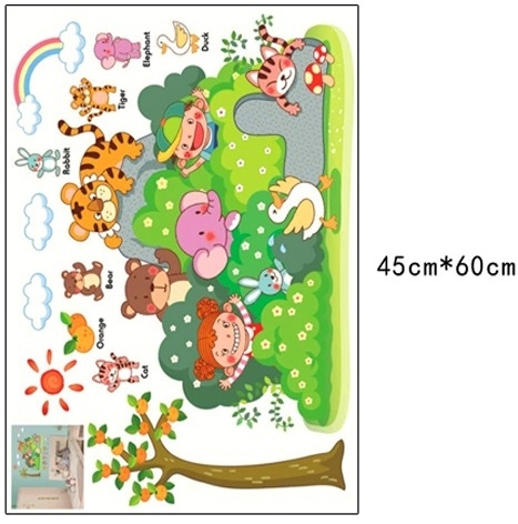 Sticker perete copii - Tufisul verde cu animalute 5