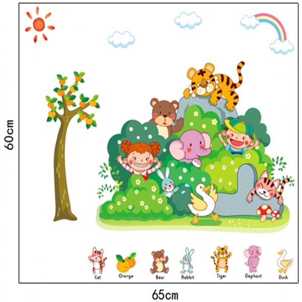 Sticker perete copii - Tufisul verde cu animalute 4