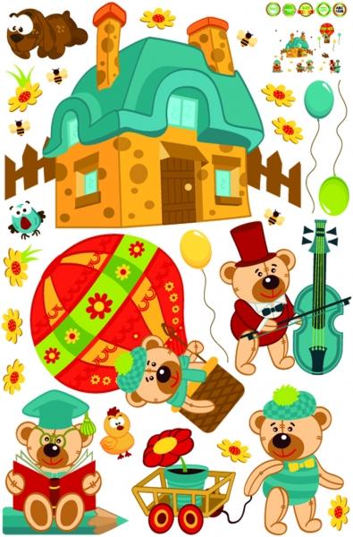 Sticker perete copii - Ursuleti in actiune 6