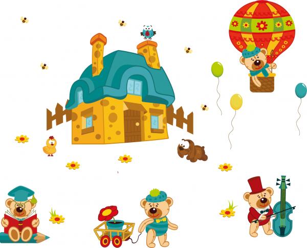 Sticker perete copii - Ursuleti in actiune 1