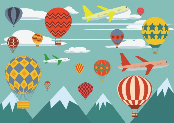 Sticker perete pentru camera copilului - Baloane si avioane peste Munti 0