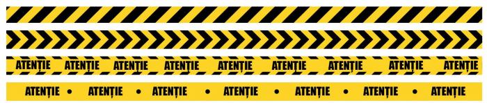 Sticker Podea - Marcare Traseu - 94x5 cm - Set 5 BUC - Galben, Negru 0