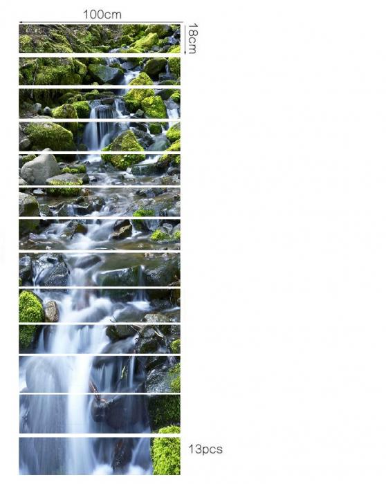 Sticker Scari - Cascada si Stanci cu Muschi Verde - 13 folii de 18x100 cm [2]