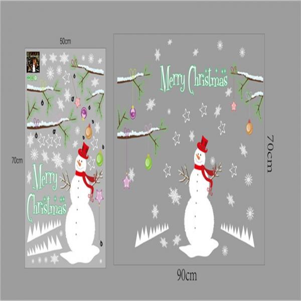 Sticker tematic Craciun - Om de zapada, ramuri cu globuri si fulgi de nea 6