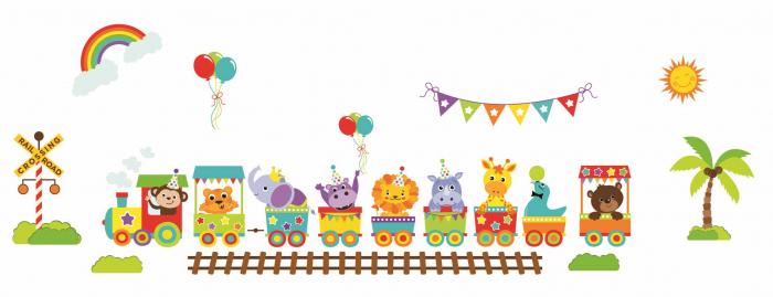 Stickere bebe - Trenulet cu animale - 130x50 cm 1