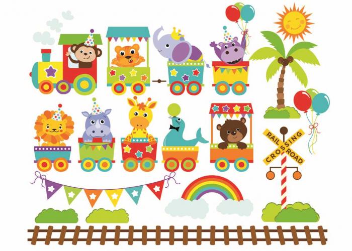Stickere bebe - Trenulet cu animale - 130x50 cm 0