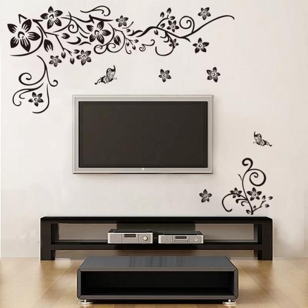 Stickere sufragerie - Flori si fluturi - Negru - 130x80 cm 0