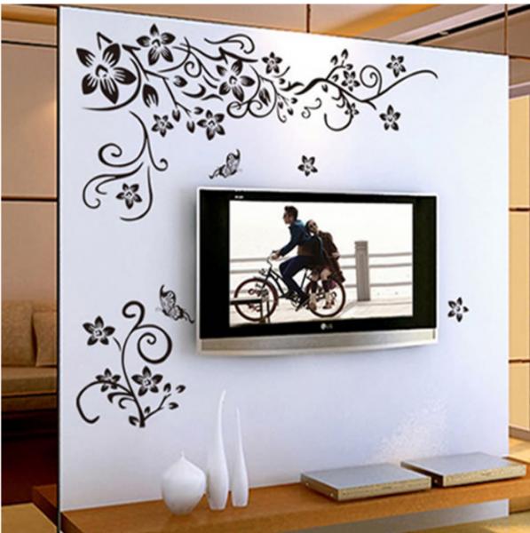 Stickere sufragerie - Flori si fluturi - Negru - 130x80 cm 1