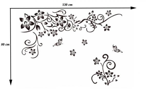 Stickere sufragerie - Flori si fluturi - Negru - 130x80 cm 6