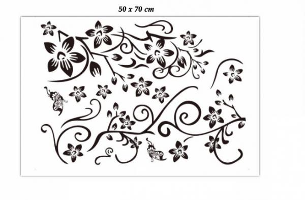 Stickere sufragerie - Flori si fluturi - Negru - 130x80 cm 5