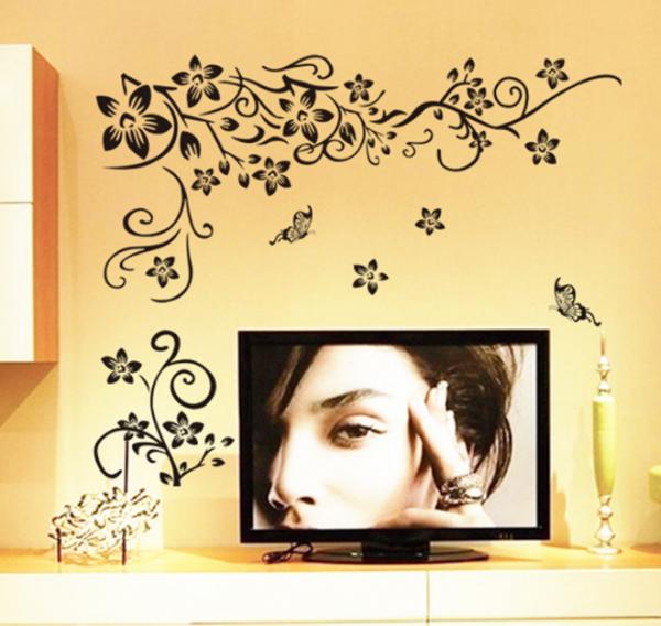 Stickere sufragerie - Flori si fluturi - Negru - 130x80 cm 2