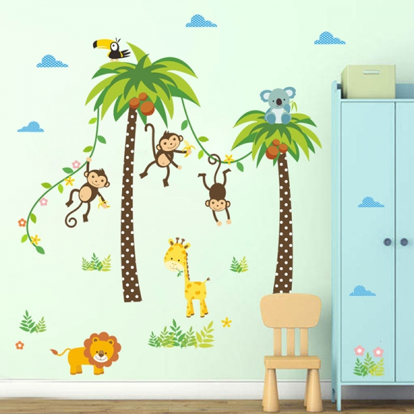 Stickere camere bebelusi - Palmieri si animale 3