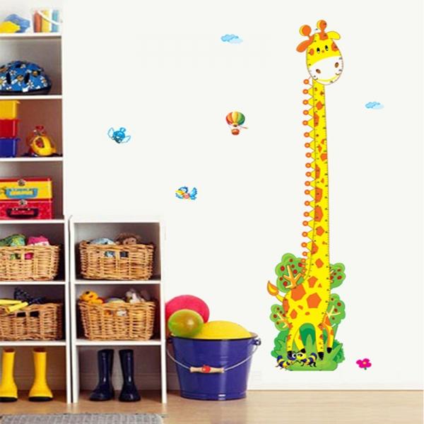 Stickere copii - Grafic de crestere girafa vesela - masurator inaltime 0