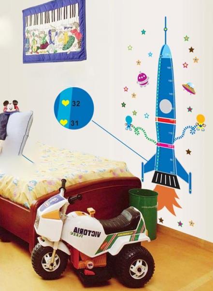 Stickere copii - Grafic de crestere Racheta spatiala - masurator inaltime 4