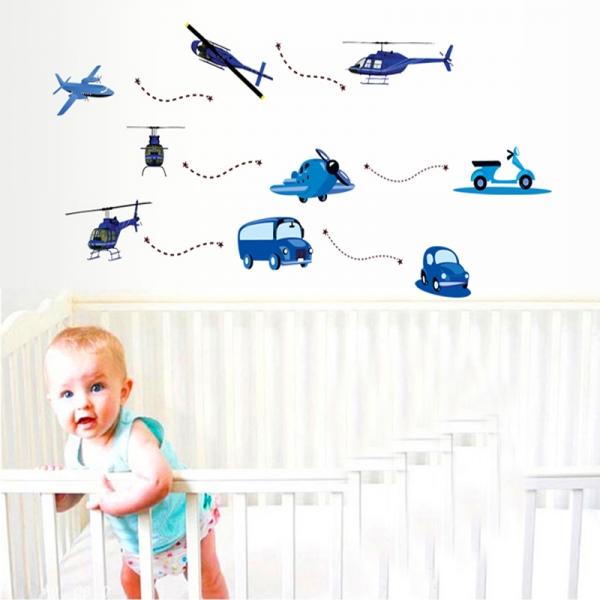 Stickere decorative pentru baieti - Avioane in zbor 0