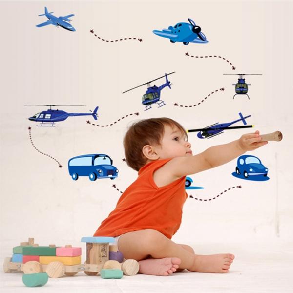 Stickere decorative pentru baieti - Avioane in zbor 1