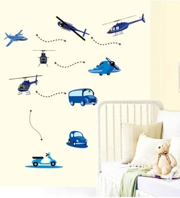Stickere decorative pentru baieti - Avioane in zbor 2