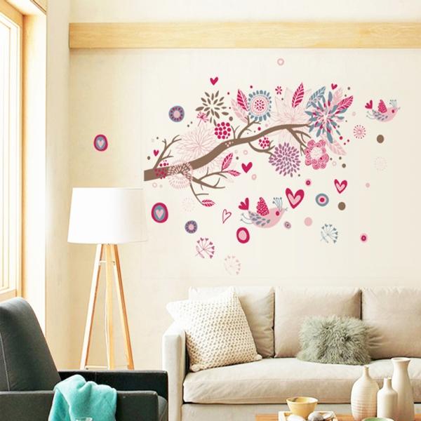 Stickere decorative - Ramura cu flori roz 4