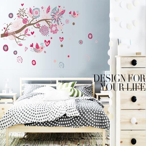 Stickere decorative - Ramura cu flori roz 1