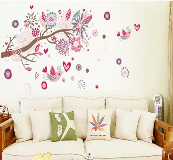 Stickere decorative - Ramura cu flori roz 2
