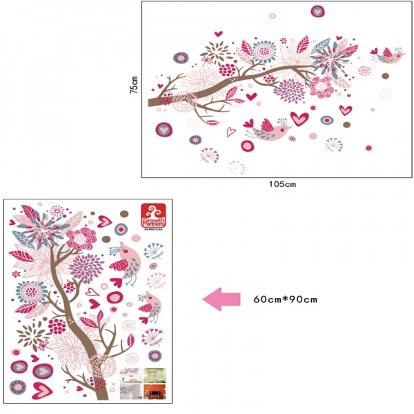 Stickere decorative - Ramura cu flori roz 5