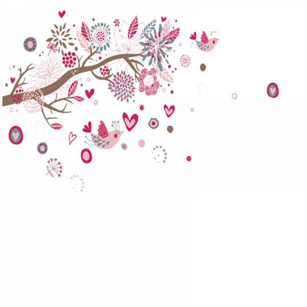 Stickere decorative - Ramura cu flori roz 7