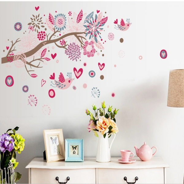 Stickere decorative - Ramura cu flori roz 0