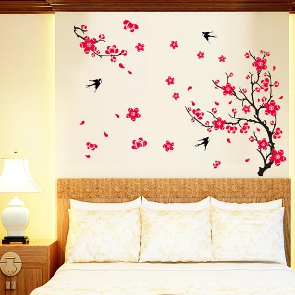 Stickere dormitor - Cires inflorit si randunele 2