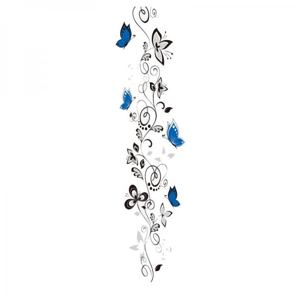 Stickere - Flori si fluturi albastri - 40x120 cm 5