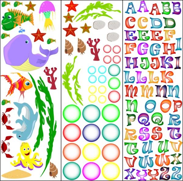 Stickere pentru camere bebelusi - Lumea marii - Nume personalizat din litere 6