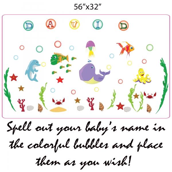 Stickere pentru camere bebelusi - Lumea marii - Nume personalizat din litere 4
