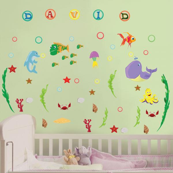 Stickere pentru camere bebelusi - Lumea marii - Nume personalizat din litere 2