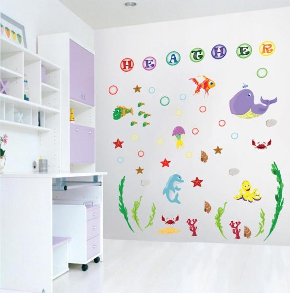 Stickere pentru camere bebelusi - Lumea marii - Nume personalizat din litere 0