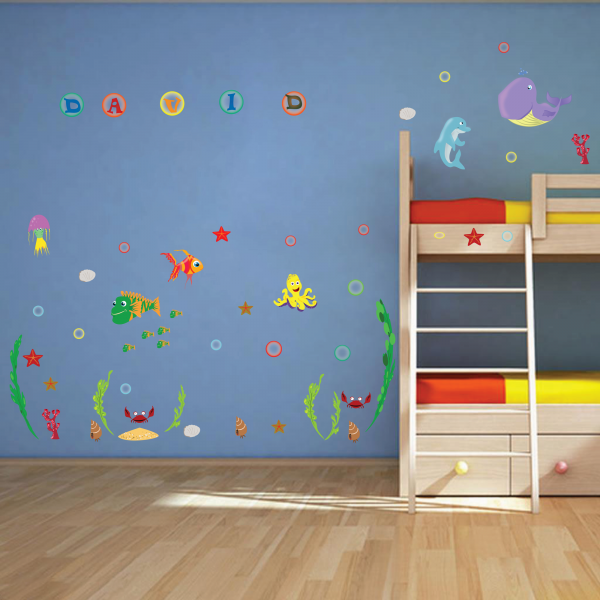 Stickere pentru camere bebelusi - Lumea marii - Nume personalizat din litere 1