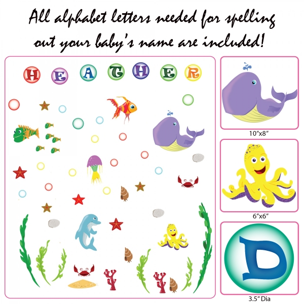 Stickere pentru camere bebelusi - Lumea marii - Nume personalizat din litere 5