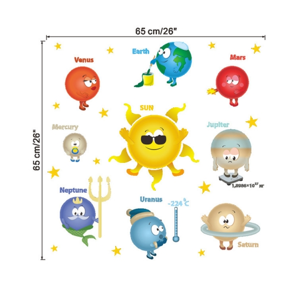 Stickere pentru copii - Planete si soare - 65x65 cm 4