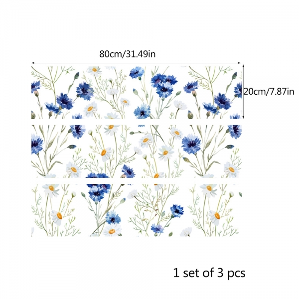 Autocolante pentru mobila - Musetel si albastrele - 20x80 cm x 3 bucati [3]