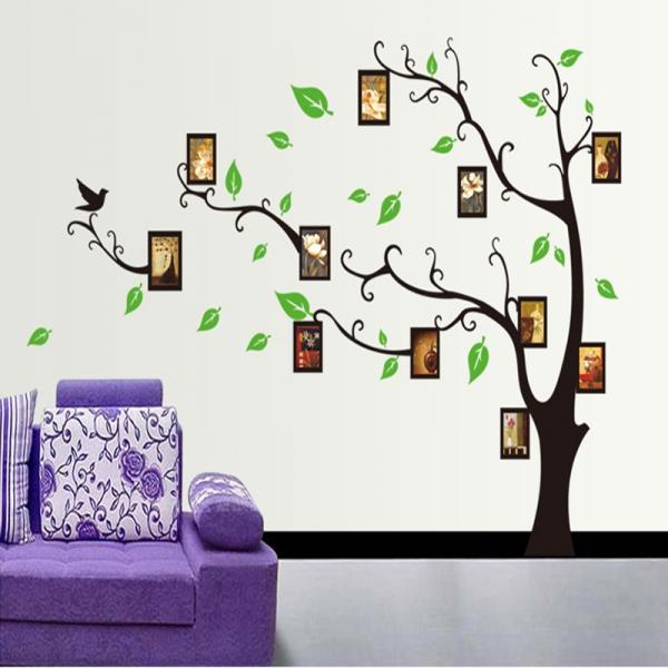 Stickere perete pentru camera de zi - Copac cu rame foto 2