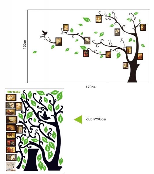 Stickere perete pentru camera de zi - Copac cu rame foto 5