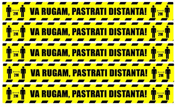 Stickere Podea - Preventie COVID - Pastrati Distanta - Set 5 BUC - 94x10 cm [0]