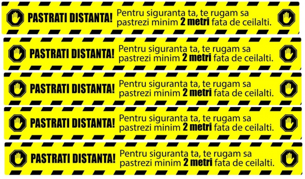 Stickere Podea - Preventie COVID - Pastrati Distanta - Set 5 BUC - 94x10 cm 0