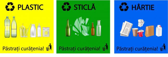 Stickere Colectare Selectiva - Reciclare - Plastic, Hartie, Sticla - Set 3 buc - 30x30 cm 0