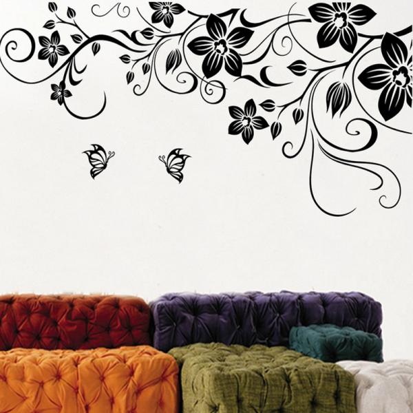 Stickere camera de zi - Flori si fluturi - Negru - 180x90 cm 0