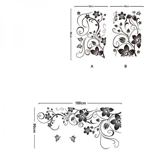 Stickere camera de zi - Flori si fluturi - Negru - 180x90 cm 4