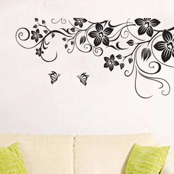 Stickere camera de zi - Flori si fluturi - Negru - 180x90 cm 3