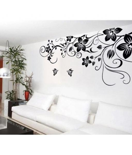 Stickere camera de zi - Flori si fluturi - Negru - 180x90 cm 1