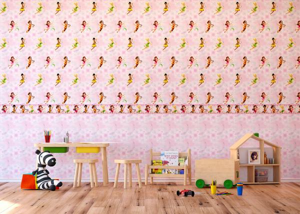 Tapet pentru copii - netesut roz cu flori - Walt Disney 1