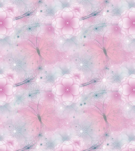 Tapet pentru copii - netesut roz cu flori - Walt Disney [0]
